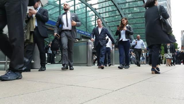 People Leaving London Canary Wharf Tube Station