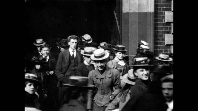 1900 - people leaving the thomas adams factory - england stock videos & royalty-free footage