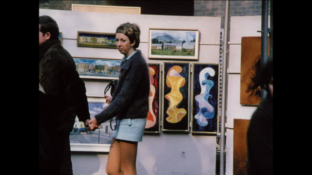 montage people look at artworks at an exhibition and museum / uk - exhibition stock videos & royalty-free footage