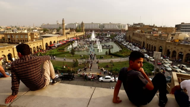 People look out over the main square in the old city on October 27 2017 in Erbil Iraq After the Kurdish Regional Government held an independence...
