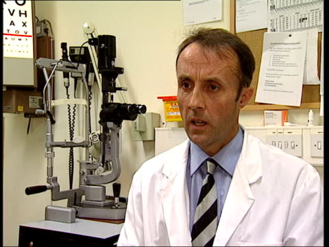 25 people lose sight because of nhs targets itn dr richard harrad with patient and interview sot elderly lady who was already deaf had glaucoma and... - hearing impairment stock videos & royalty-free footage