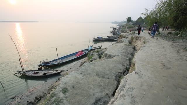 People losing their homes causes of Padma river erosion in Munshigonj near Dhaka Bangladesh on January 24 2016 Erosion is endemic in Bangladesh with...