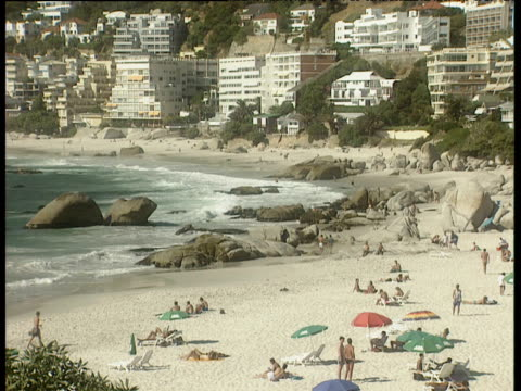 people lounging and walking on sandy beach with large boulders buildings built into hillside behind. - boulder beach western cape province stock videos and b-roll footage