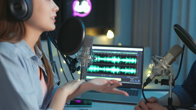 people make podcast in studio - radio broadcasting stock videos & royalty-free footage