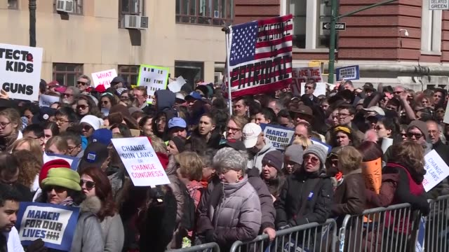 people march during 'march for our lives' protest against gun violence in new york, united states on march 24, 2018. the nation-wide protests called... - gun violence protest stock videos & royalty-free footage