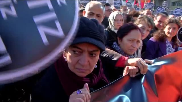 People march to Agos newpaper building during a commemoration ceremony on the 8th death anniversary of Hrant Dink former editorinchief of the...