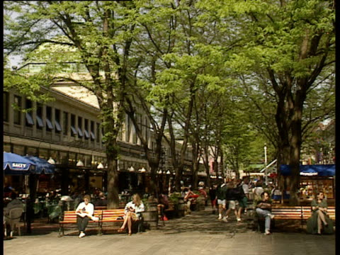 people milling around quincy market and sitting on benches under green trees. pan left to people sitting outside cafe under umbrellas - boston massachusetts stock videos & royalty-free footage