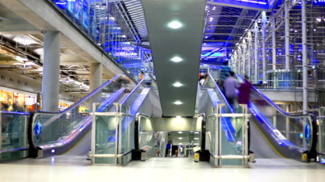 hd: people movement at airport.(timelapse) - shopping centre stock videos & royalty-free footage