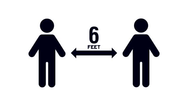 människor som flyttar 6 meter från varandra för social avståndstagande för att undvika exponering för virus, bakterier och andra sjukdomar som orsakar patogener - biomedicinsk animation bildbanksvideor och videomaterial från bakom kulisserna