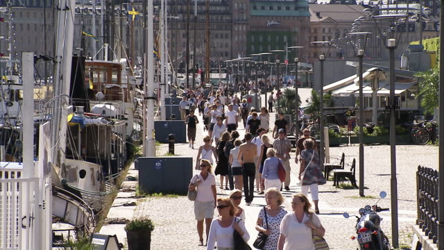 People moving in the streets, Sweden.
