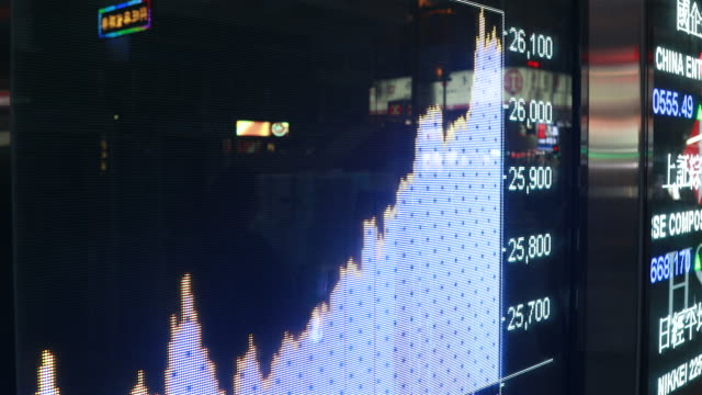 People moving past screen showing stock chart at night