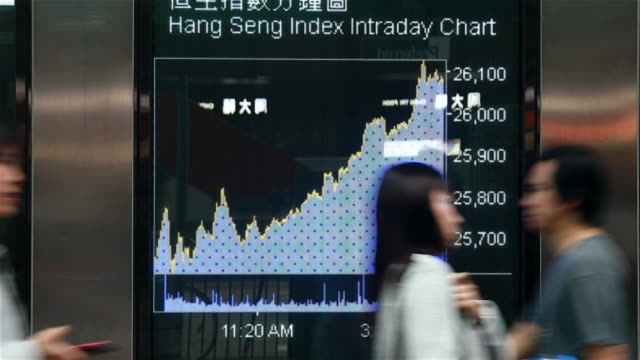 People moving past screen showing stock chart