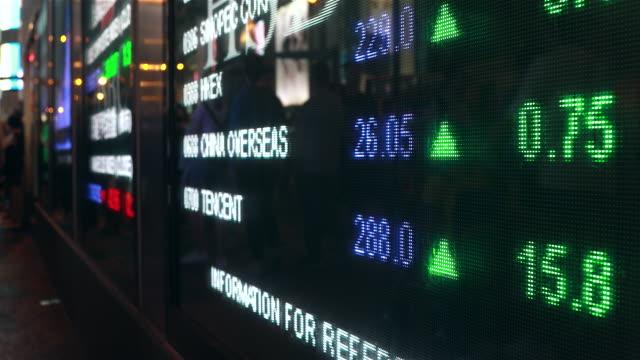 vídeos y material grabado en eventos de stock de people moving past screen showing stock market data at night - finanzas globales