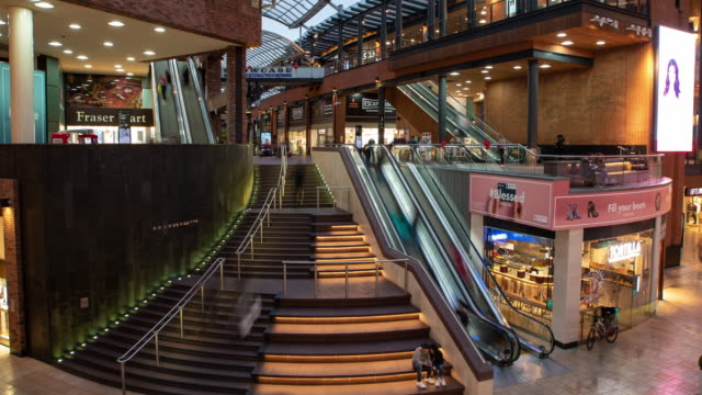 people moving through cabot circus, an indoor shopping mall in bristol, england, united kingdom on septemeber 11, 2019. - long exposure stock videos & royalty-free footage