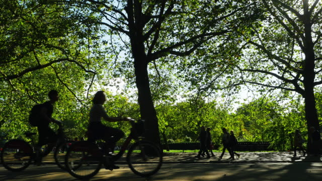 people moving through london hyde park (uhd) - hyde park london stock videos & royalty-free footage