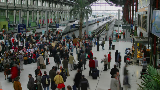 TIME LAPSE HIGH ANGLE WIDE SHOT people near train platforms in busy Gare de Lyon train station, Paris, France
