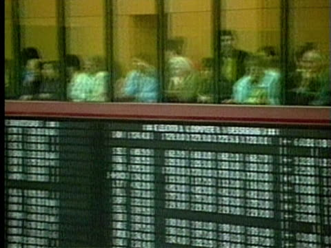 1994 MS PAN People observing Frankfurt Stock Exchange floor from balcony above ticker board/ Frankfurt am Main, Germany/ AUDIO