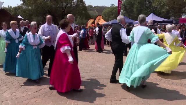 people of afrikaner descent gather at the voortrekker monument in pretoria to celebrate heritage day - afrikaans stock videos & royalty-free footage
