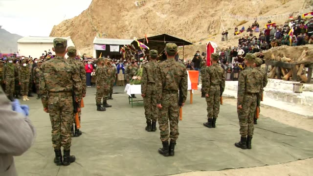 people of ladakh and indian army personnel paying tribute to special frontier force martyr nyima tenzin in leh ladakh - indian army stock videos & royalty-free footage