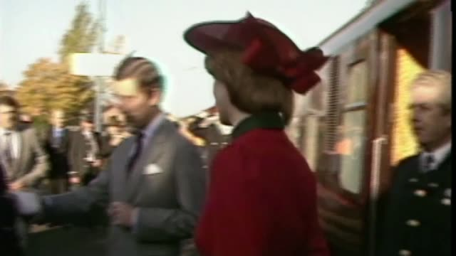 people of wales remember charles and diana's first royal tour; as271081016 / tx wales: shotton: ext prince charles from train onto station followed... - prince stock videos & royalty-free footage