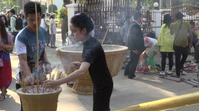 people offering incense in a temple - incense stock videos & royalty-free footage