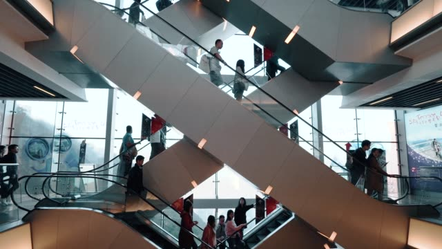 people on a escalator - shopping centre stock videos & royalty-free footage