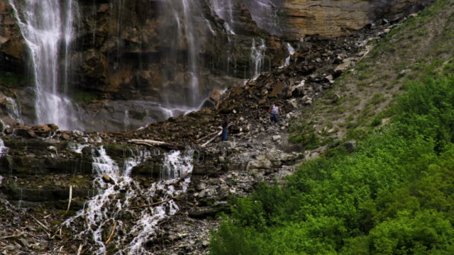people on a hillside of bridal veil falls in provo, utah. - provo stock videos & royalty-free footage