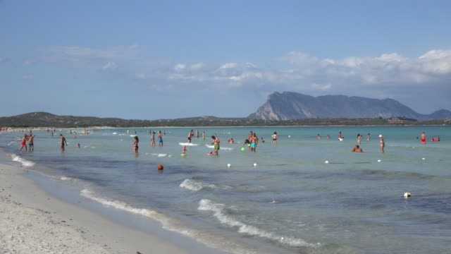 people on beach and in sea - sassari stock videos & royalty-free footage