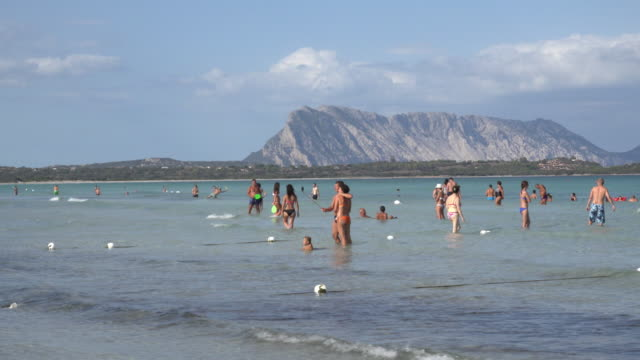 zo / people on beach and in sea with isola tavolara - sassari stock videos & royalty-free footage