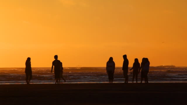 HD people on beach at sunset