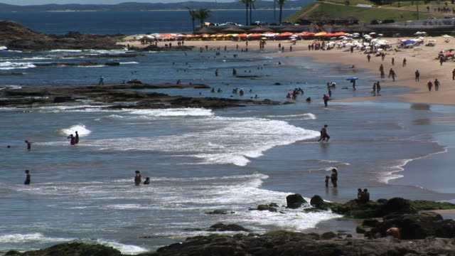 ws people on beach, salvador, bahia, brazil - northeastern brazil stock videos and b-roll footage