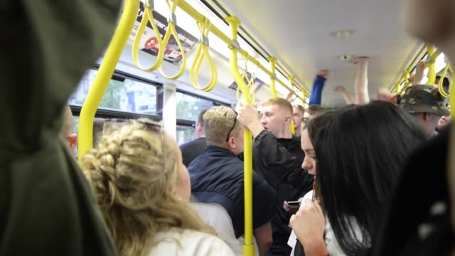 People on board a Metrolink tram voice an antiISIS chant on their way to a live music performance by The Corteeners in Manchester United Kingdom on...