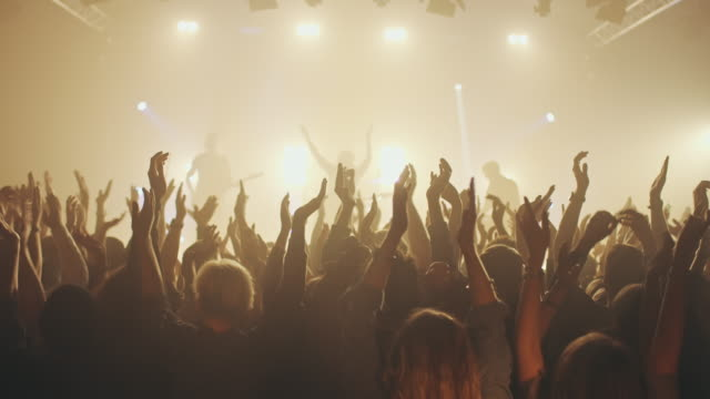 people on concert waving and clapping hands - applaudire video stock e b–roll