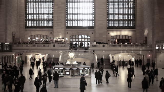 people on concourse at grand central station - desaturated stock videos & royalty-free footage