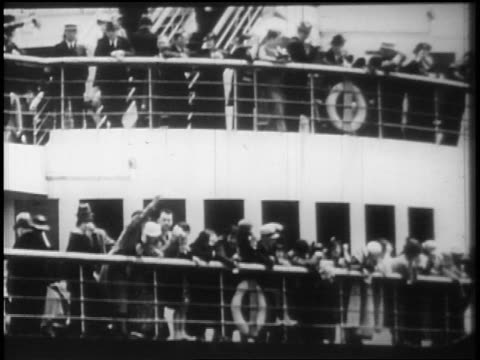 B/W 1928 people on deck of ocean liner waving / newsreel