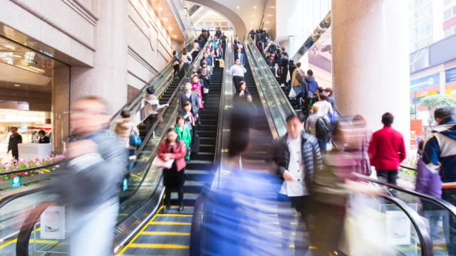 tl ms people on escalators - shopping mall stock videos & royalty-free footage