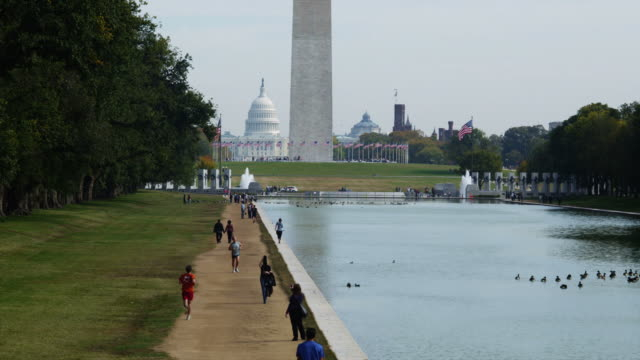 ws ha people on footpath along reflecting pool, washington monument and capitol in background, washington d.c, usa - reflecting pool washington dc stock videos & royalty-free footage