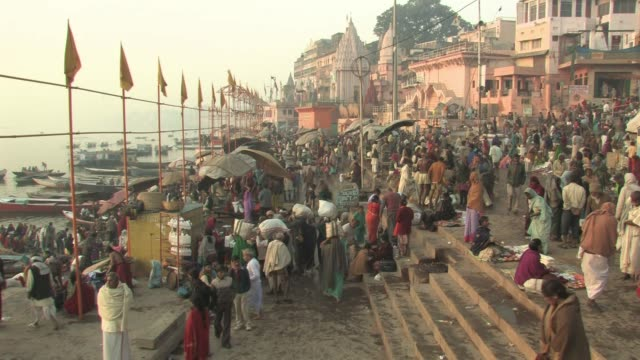 WS, HA People on ghats, Varanasi, Uttar Pradesh, India
