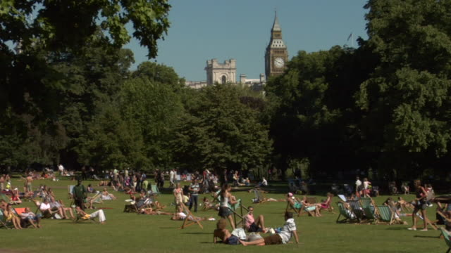 WS People on grass in St. James Park with Big Ben and Parliament in background/ London, England
