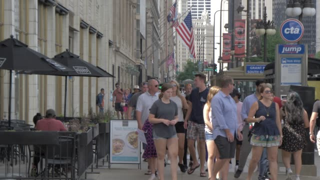 people on michigan avenue, chicago, illinois, united states of america, north america - michigan avenue chicago stock videos & royalty-free footage
