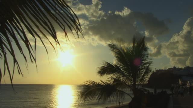 vídeos de stock e filmes b-roll de pan, people on morro jable promenade at sunset / fuerteventura, canary islands, spain - fan palm tree