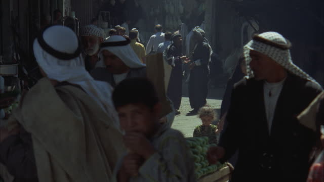 ms, people on open market at narrow street, iraq - iraq stock videos and b-roll footage