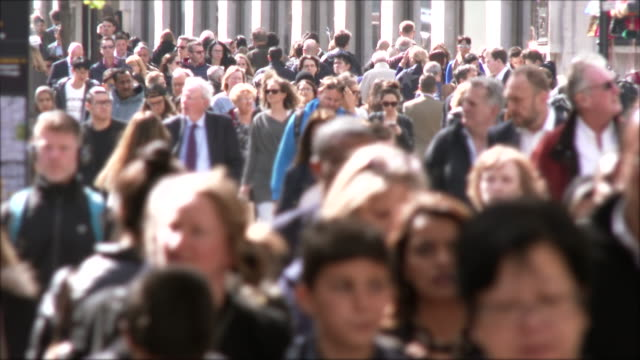 people on oxford street - crowd of people stock videos & royalty-free footage