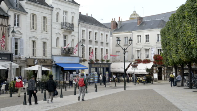 People on Place Michel Debre, Old town of Amboise