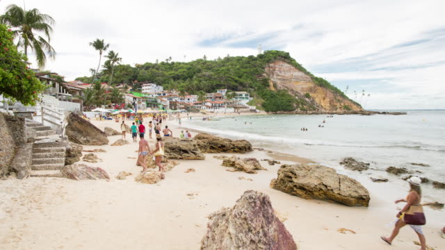 tl, ws people on primeira praia beach in morro de sao paulo / salvador, brazil - bahia state stock videos and b-roll footage