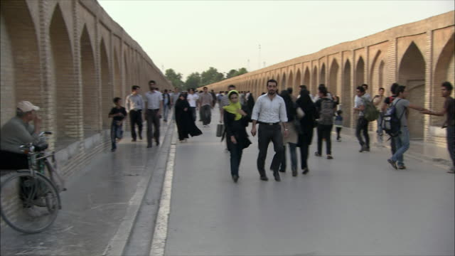 WS PAN People on Si-o-Se Pol Bridge (Allah-Verdi Khan Bridge), Isfahan, Iran