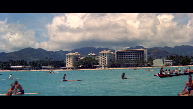 ms pan people on surf boats / honolulu, hawaii, united states - letterbox format stock videos & royalty-free footage