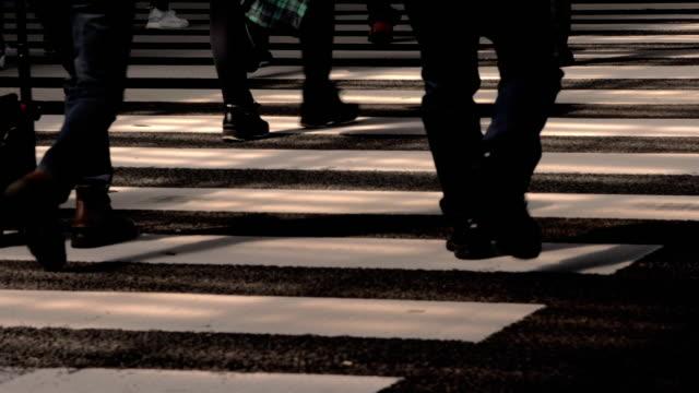 vídeos de stock, filmes e b-roll de povos na estrada crosswalk em tokyo japão, slow motion - sinais de cruzamento