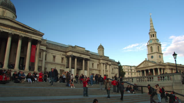 LONDON - OCTOBER 7: People on the steps of the National Gallery on October 7, 2011 in London.