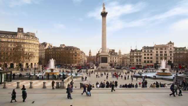 ws, t/l, people on trafalgar square, london, england - colonna architettonica video stock e b–roll
